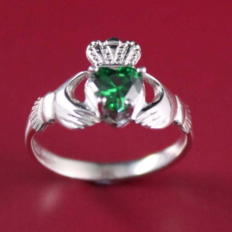 Jewelry  - Claddagh Ring, Ladies Silver Claddagh Ring, Set With Green Stone.