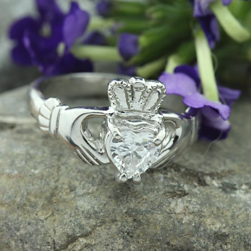 Jewelry - Claddagh Ring, Ladies Silver Claddagh Ring, Set With Heart Shape Cubic Zirconia Stone.