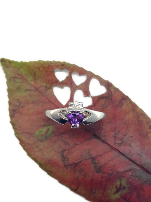 Jewelry - Claddagh Ring, Ladies Silver Irish Real Amethyst And Diamond Claddagh Ring