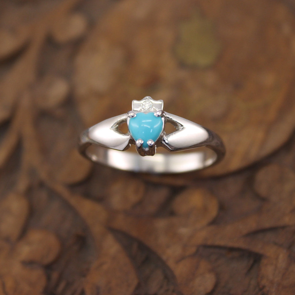 Jewelry - Claddagh Ring, Ladies Silver Irish Turquoise And Diamond Claddagh Ring
