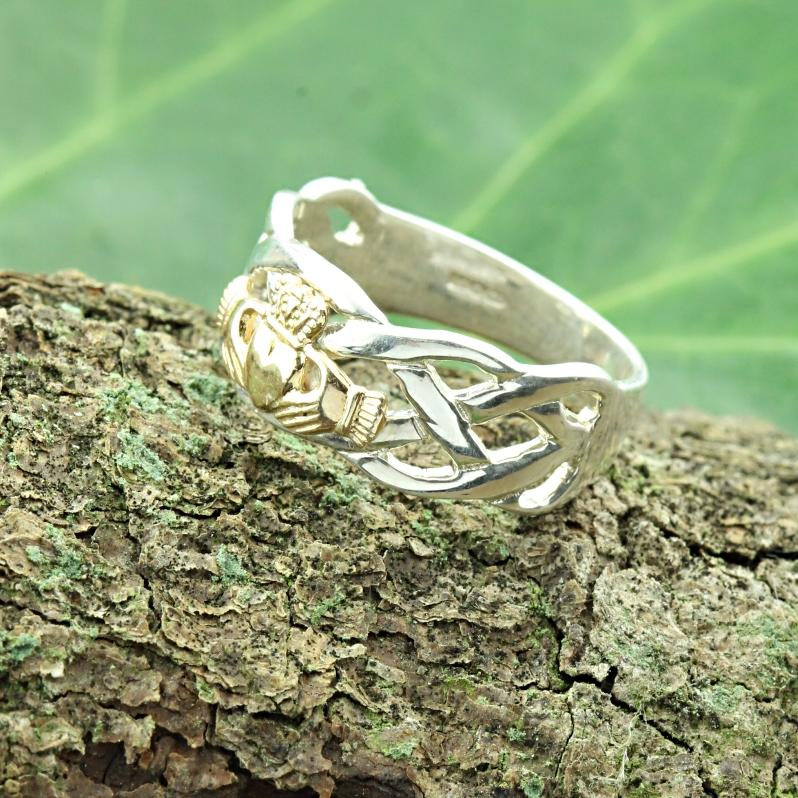 Jewelry - Claddagh Ring, Mens Silver And Gold Claddagh , With Celtic Rope Band.