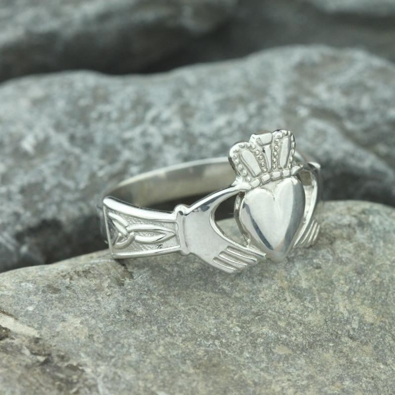 Jewelry  - Claddagh Ring, Mens Silver Claddagh Ring With Celtic Engraved Cuffs