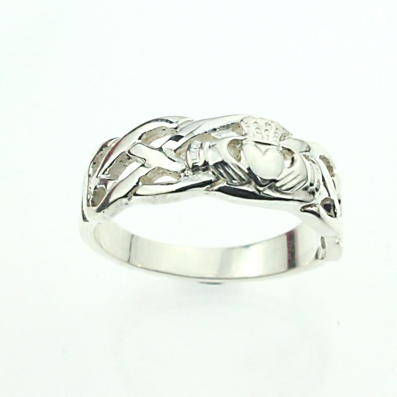 Claddagh ring Mens silver Claddagh with celtic rope band Irish