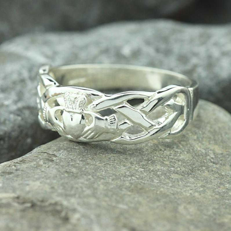 Jewelry  - Claddagh Ring, Mens Silver Claddagh , With Celtic Rope Band