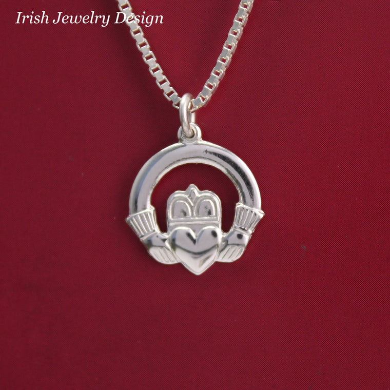 Jewelry  - Claddagh Ring Necklace, Silver Irish Celtic Necklace