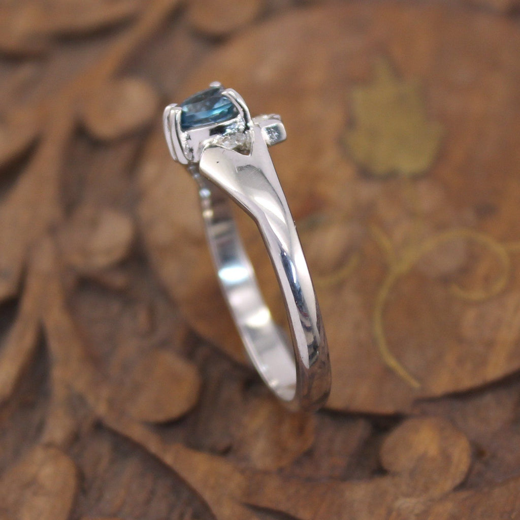 Jewelry - Claddagh Ring, Real Blue Topaz And Diamond Contemporary Claddagh Ring