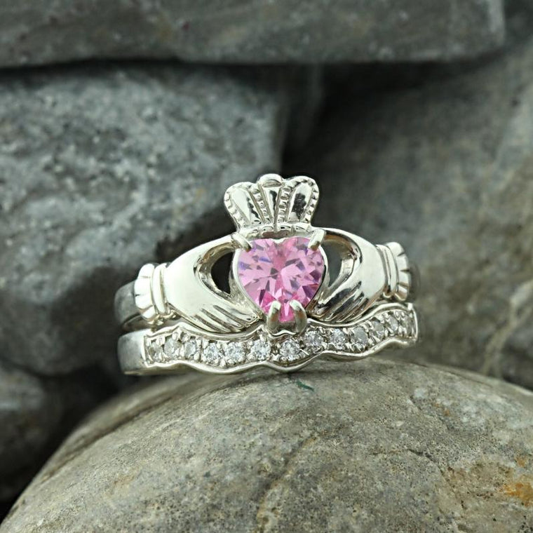 Jewelry - Claddagh Ring With Pink Heart Stone And Matching Stone Set Band.