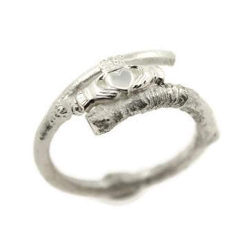Jewelry - Contemporary Claddagh Ring With Natural Branch Band.