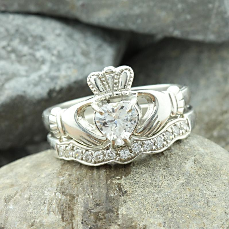 Jewelry - Cubic Zirconia Claddagh Ring And Matching Stone Set Band.
