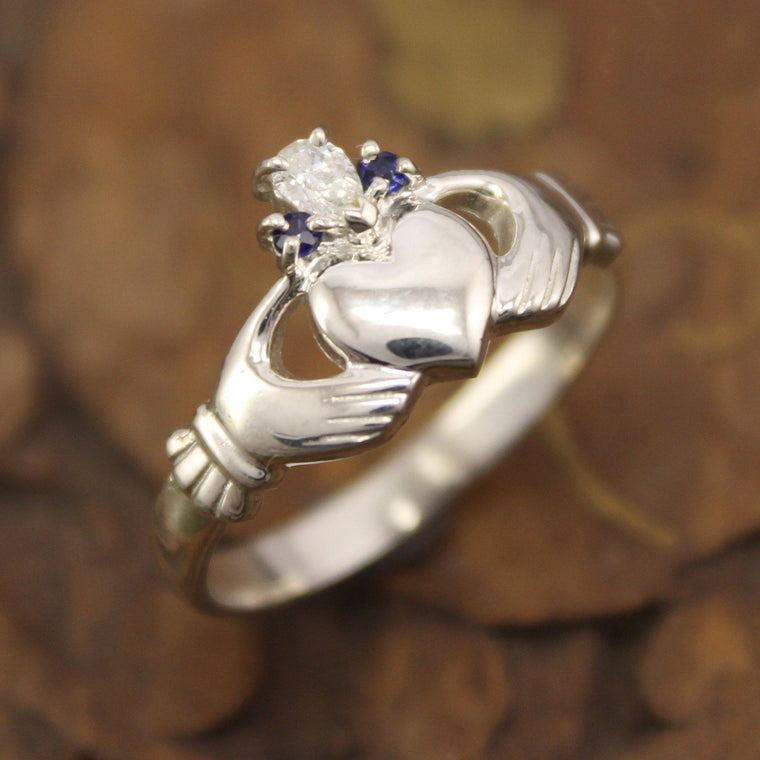Jewelry - Diamond And Sapphire 14K Gold Claddagh Ring.