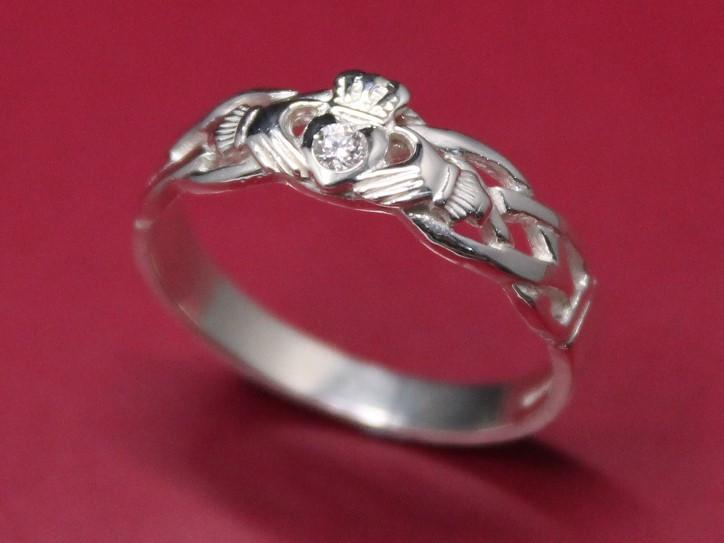 Jewelry  - Diamond Claddagh Ring, Ladies Silver Diamond Claddagh Ring On Celtic Rope Band.