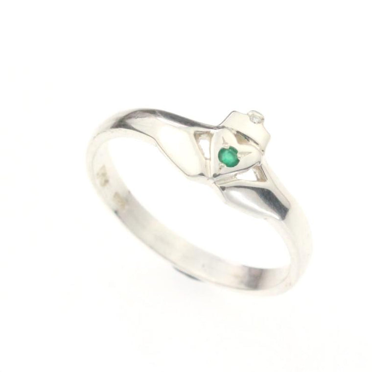 Jewelry - Emerald And Diamond Claddagh Ring, Ladies Silver Claddagh Ring In A Modern Contemporary Style