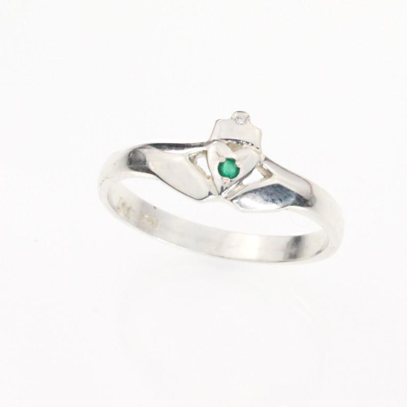 Emerald and diamond Claddagh ring la s silver claddagh ring in