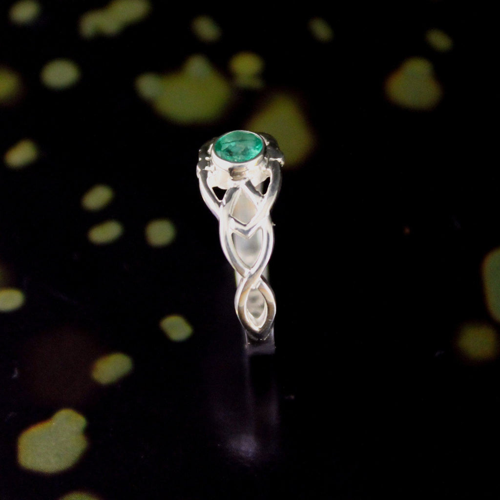 Jewelry - Emerald Celtic Ring, Irish Silver Celtic Knot Ring.