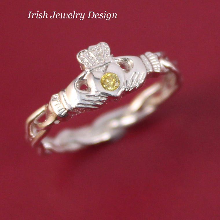 Jewelry - Fancy Yellow Diamond Claddagh Ring, Ladies Silver Claddagh Ring On Celtic Rope Band.