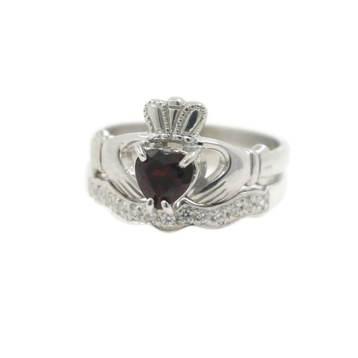 Jewelry - Garnet Claddagh Ring And Matching Stone Set Band.