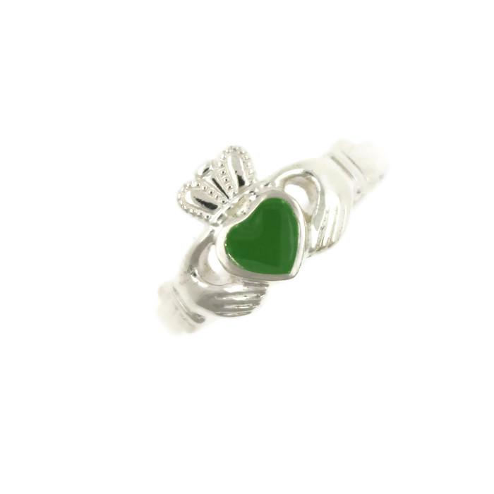 Jewelry - Green Enamel Silver Ladies Claddagh Ring
