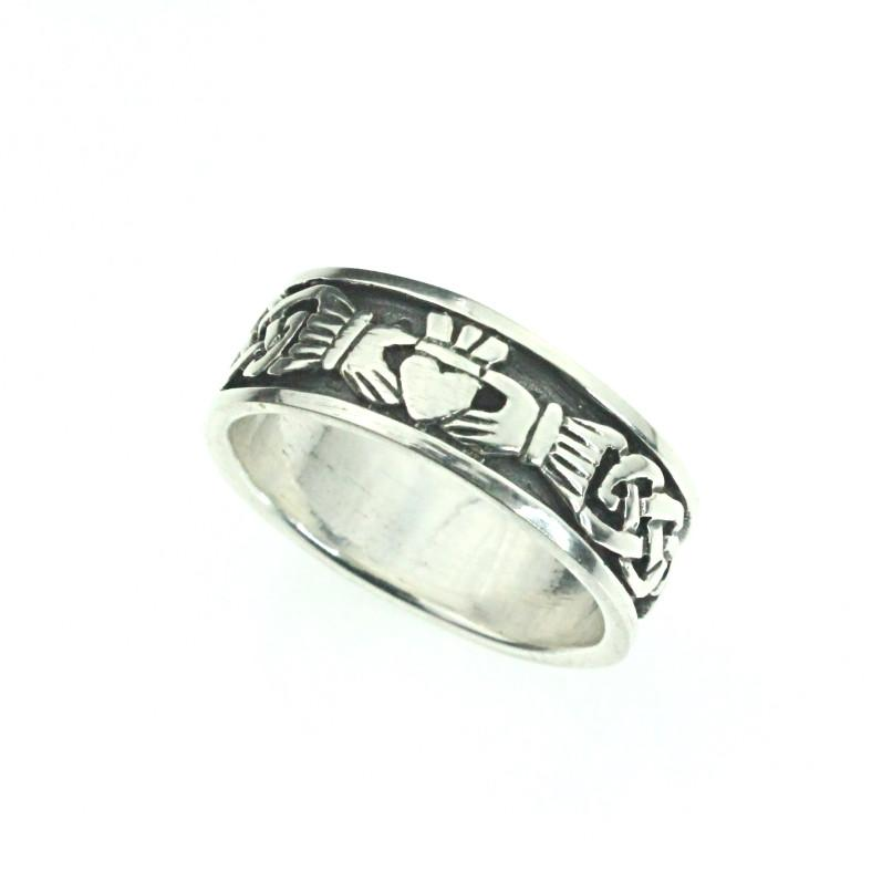 Jewelry - Irish Celtic Wedding Ring Featuring Celtic And Claddagh Embellished Pattern Detail.
