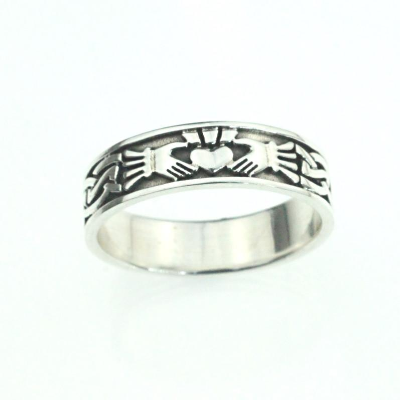 Jewelry - Irish Claddagh Celtic Wedding Ring Featuring Celtic Knot And Claddagh Patterns.