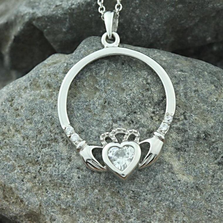 Jewelry - Irish Claddagh Necklace, Silver Irish Celtic Necklace