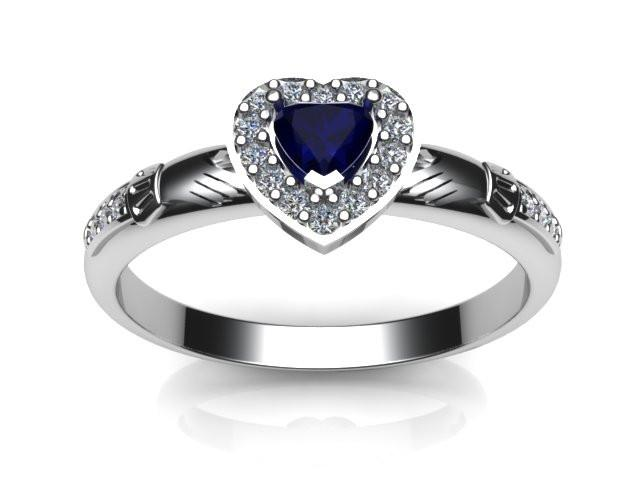Jewelry - Ladies Claddagh Ring.  Created Sapphire Gemstone Claddagh Ring, Contemporary Irish Celtic Claddagh Ring.