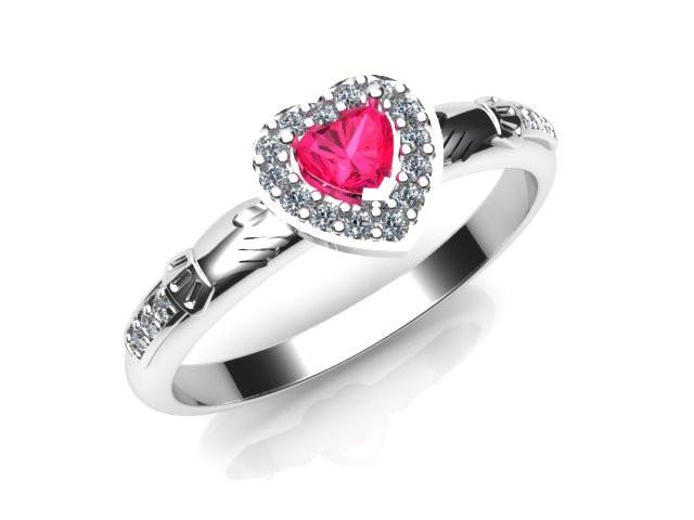 Jewelry - Ladies Pink Cubic Zirconia Gemstone Claddagh Ring, Contemporary Irish Celtic Claddagh Ring.