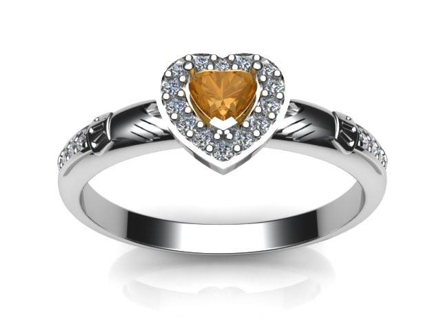 Jewelry - Ladies Real Golden Citrine Gemstone Claddagh Ring, Contemporary Irish Celtic Claddagh Ring.
