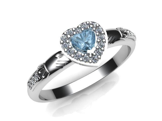 Jewelry - Ladies Real Sky Blue Topaz Gemstone Claddagh Ring, Contemporary Irish Celtic Claddagh Ring.