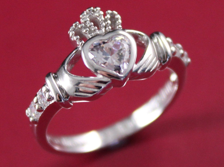 Jewelry  - Ladies Stone Set Claddagh Ring.