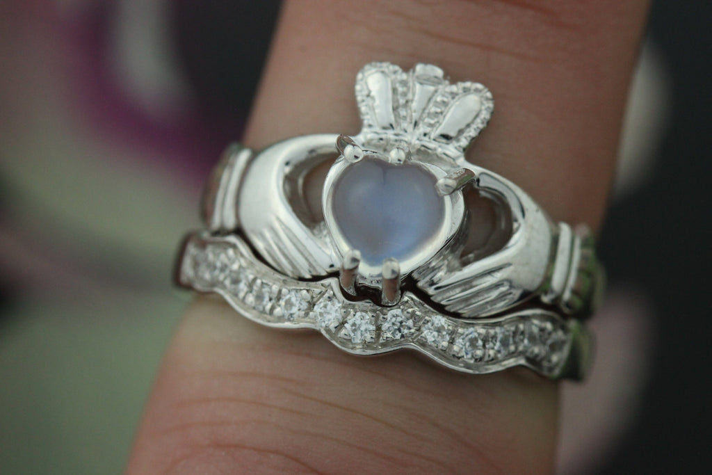 Jewelry - Moonstone Claddagh Ring And Matching Stone Set Band.