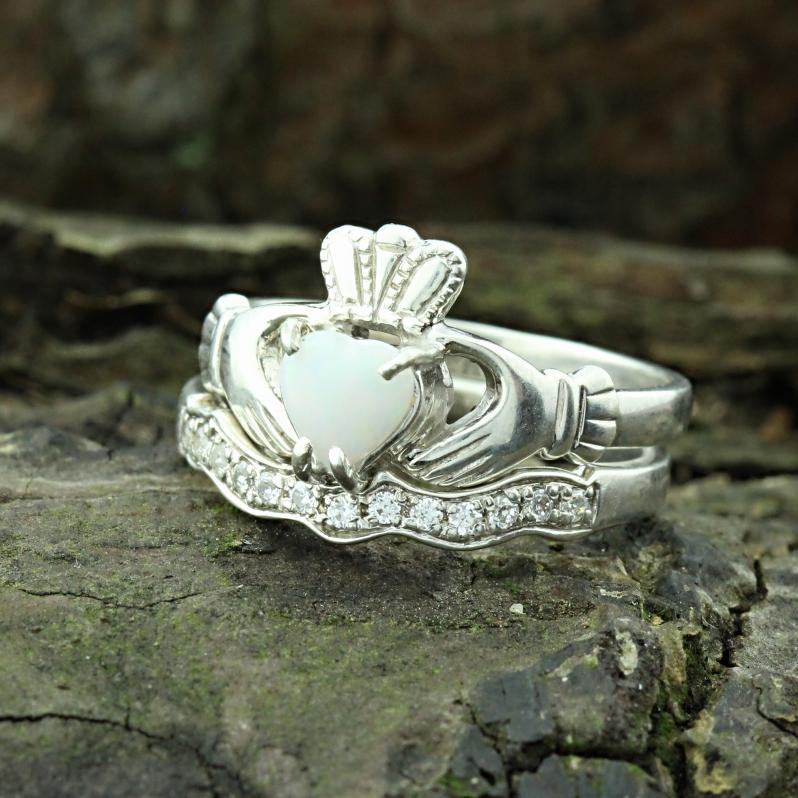 Jewelry - Opal Claddagh Ring And Matching Stone Set Band.