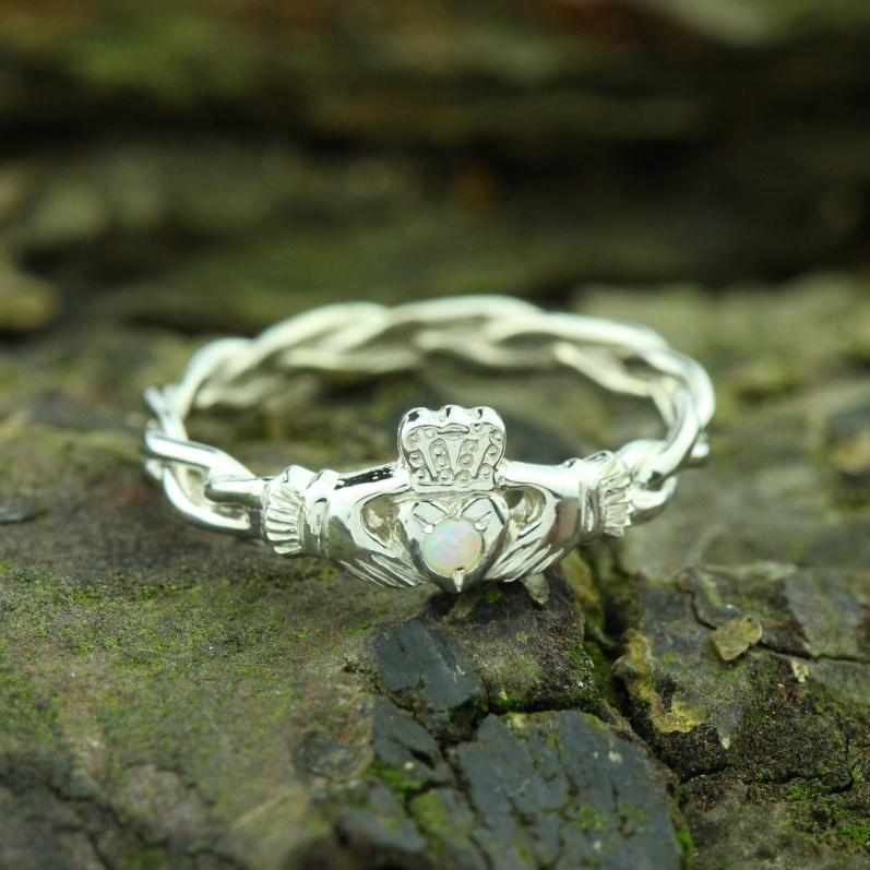 Jewelry - Opal Claddagh Ring, Ladies Silver Claddagh Ring On Celtic Rope Band.