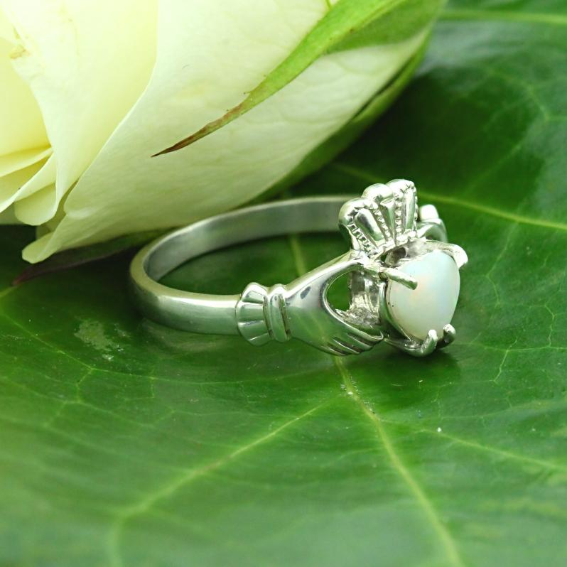 Jewelry - Opal Claddagh Ring, Ladies Silver Claddagh Ring, Set With A Real Opal.