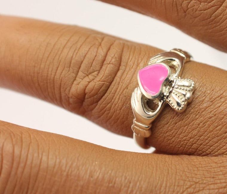 Jewelry - Pink Enamel Silver Ladies Claddagh Ring