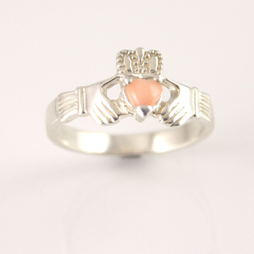 Jewelry - Rare Claddagh Ring, Ladies Claddagh Ring, Set With Real Pink Coral Gemstone.