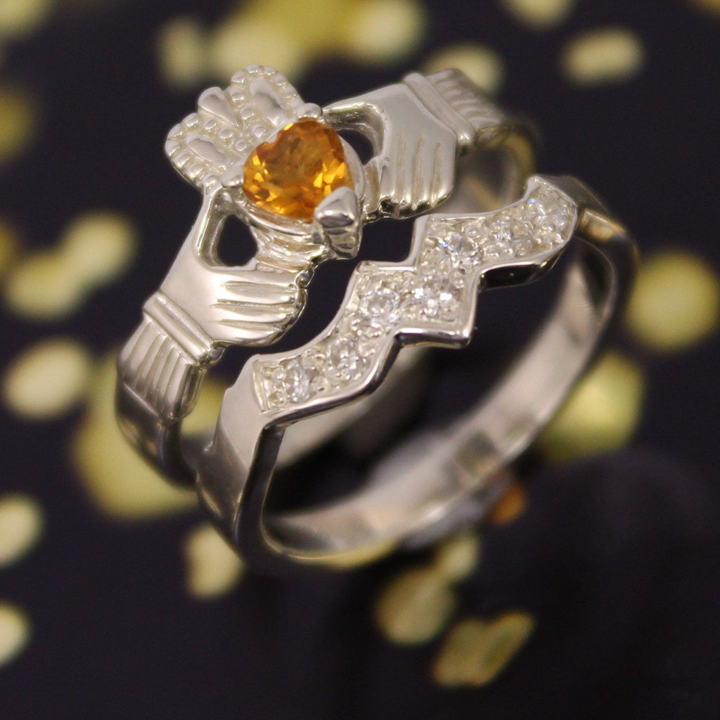 Jewelry - Real Citrine Gemstone Irish Claddagh Ring And Matching Band Set With Cubic Zirconia.