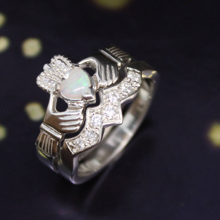 Jewelry - Real Opal Irish Claddagh Ring And Matching Band Set With Cubic Zirconia.