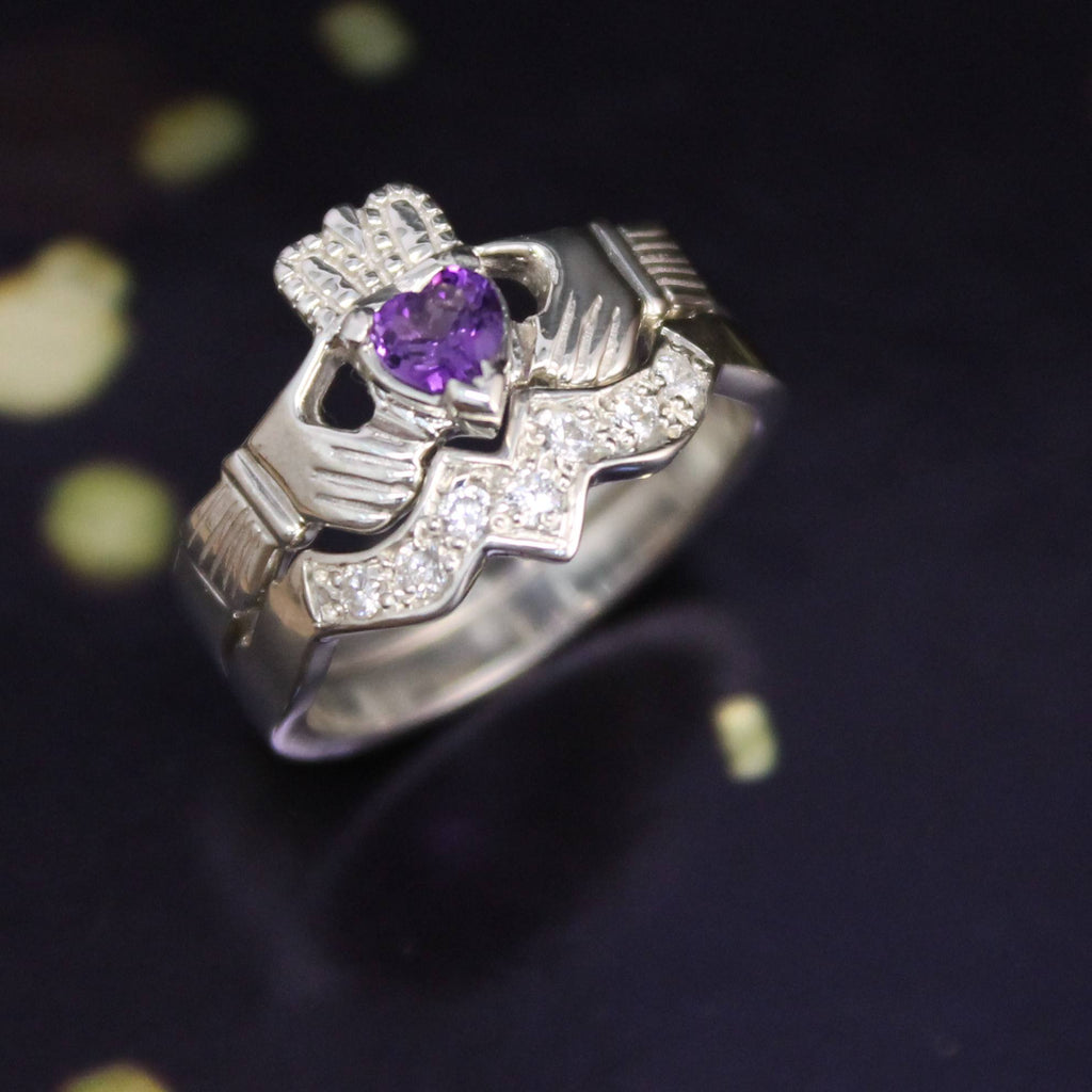 Jewelry - Real Purple Amethyst Irish Claddagh Ring And Matching Band Set With Cubic Zirconia.