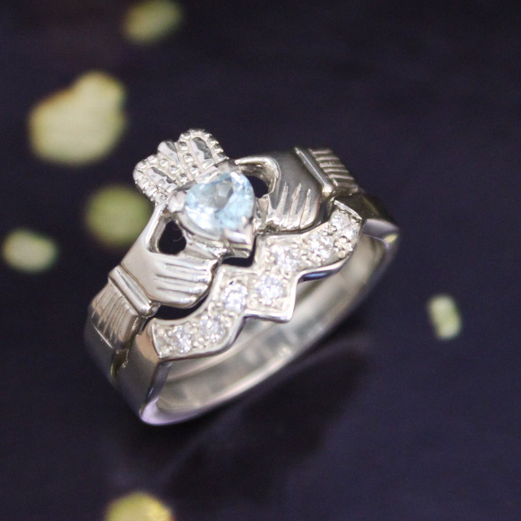 Jewelry - Real Sky Blue Topaz Irish Claddagh Ring And Matching Band Set With Cubic Zirconia.