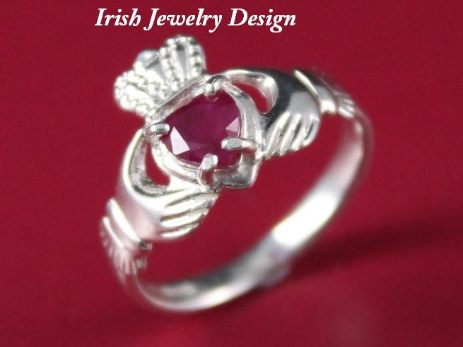 Jewelry - Ruby Claddagh Ring, Ladies Silver Claddagh Ring, Set With A Real Ruby Gemstone.