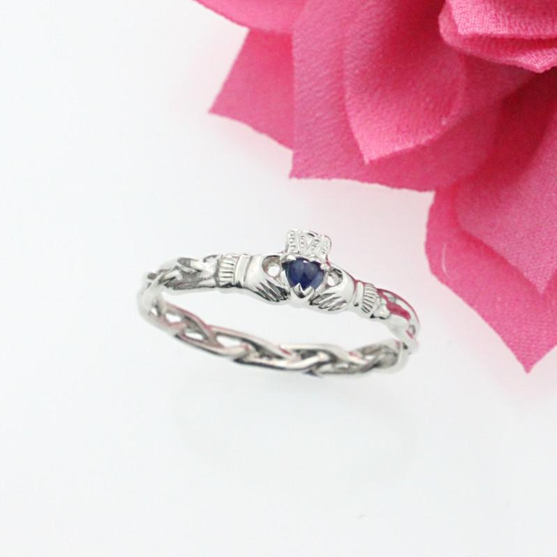 Jewelry - Sapphire Claddagh Ring, Ladies Silver Claddagh Ring On Celtic Rope Band.