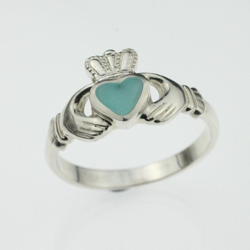 Jewelry - Turquoise Enamel Silver Ladies Claddagh Ring