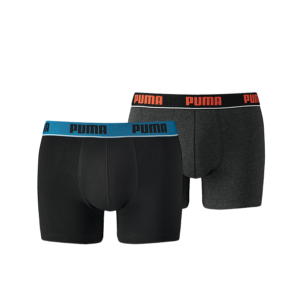 Puma boxershort 2-pack basic stripe elastic 671001001-223-black/antraciet