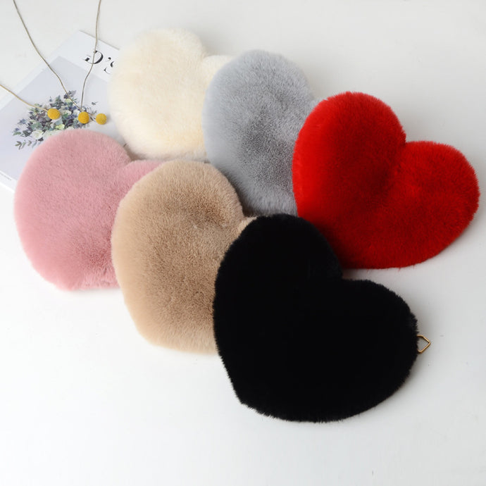 Faux Fur Heart Bag
