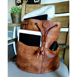 Marianna Brown Genuine Leather Backpack