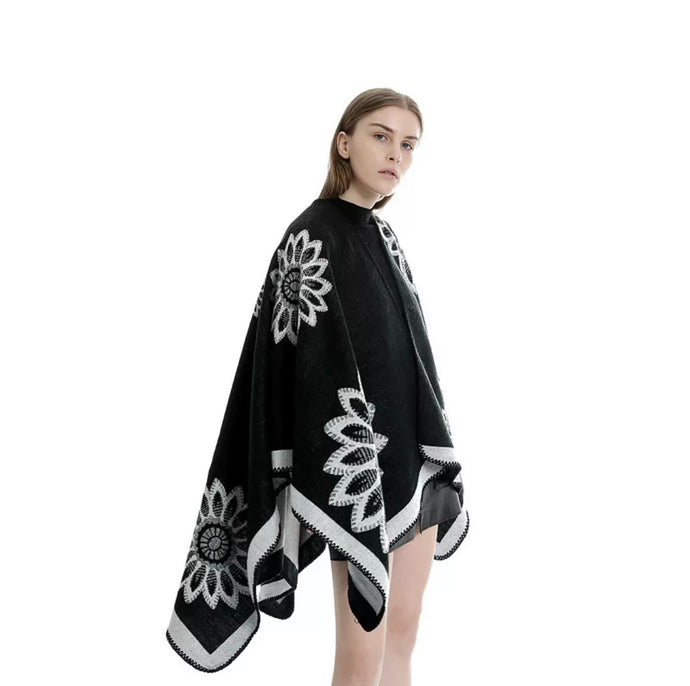 Black & White Reversible Poncho