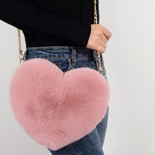 Load image into Gallery viewer, Faux Fur Heart Bag