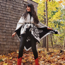 Load image into Gallery viewer, Black & White Reversible Poncho