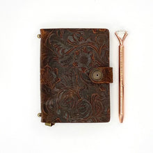 Load image into Gallery viewer, Leather Journal, Rose Gold Pen & Flower Bag