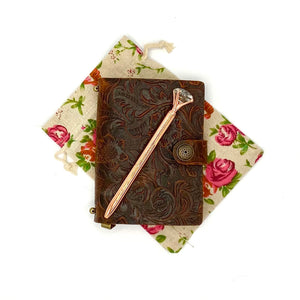 Leather Journal, Rose Gold Pen & Flower Bag